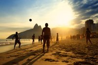 Brazil children kicking soccer ball