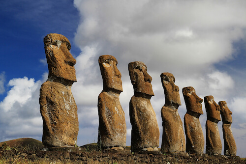 Chile Moai on the Easter islands in the Pacific Ocean