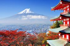 Asia: Japan's Mount Fuji and Temple in Autumn