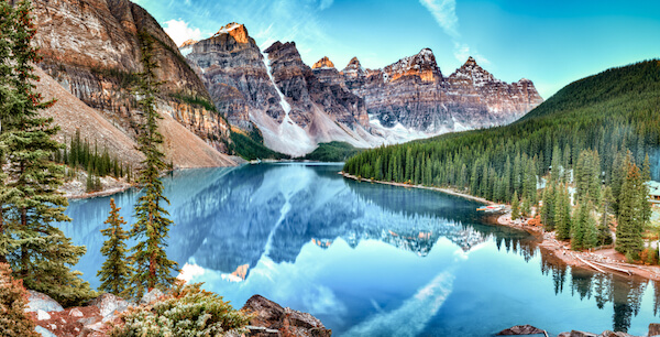 Banff National Park and Lake Moraine in Alberta Canada