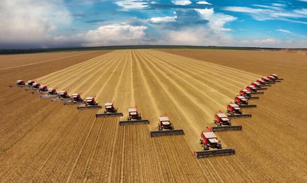 Brazil Soybean harvest with 22 harvesters in Mato Grosso - image by Kelvin Helen Haboski/shutterstock.com