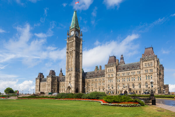 Canada parliament and peace tower in Ottawa