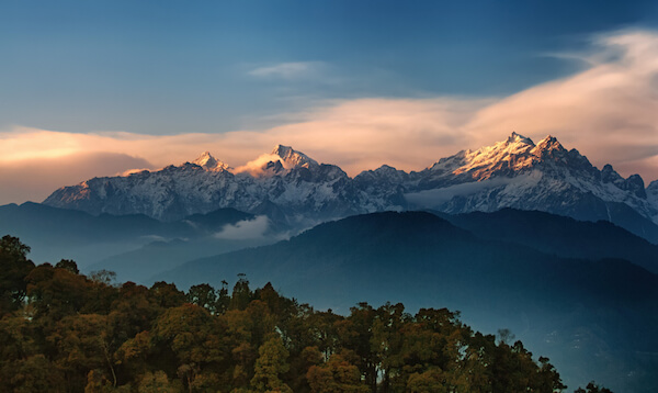 Kanchenjunga - India's highest mountain at sunrise