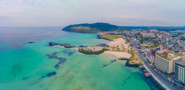 Jeju Island in South Korea aerial view of resort and beach
