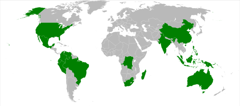 Map of Megadiverse Countries - by Joey80/wikicommons