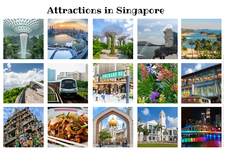 Singapore Attractions - Collage of our 15 favourite attractions in Singapore - by Kids World Travel Guide