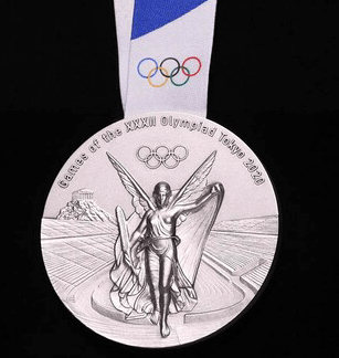 Olympic Silver Medal Tokyo 2020 - image from Olympic.org https://www.olympic.org/tokyo-2020-medals