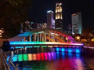 Singapore illuminated Elgin Bridge at night - image by Regina Graff