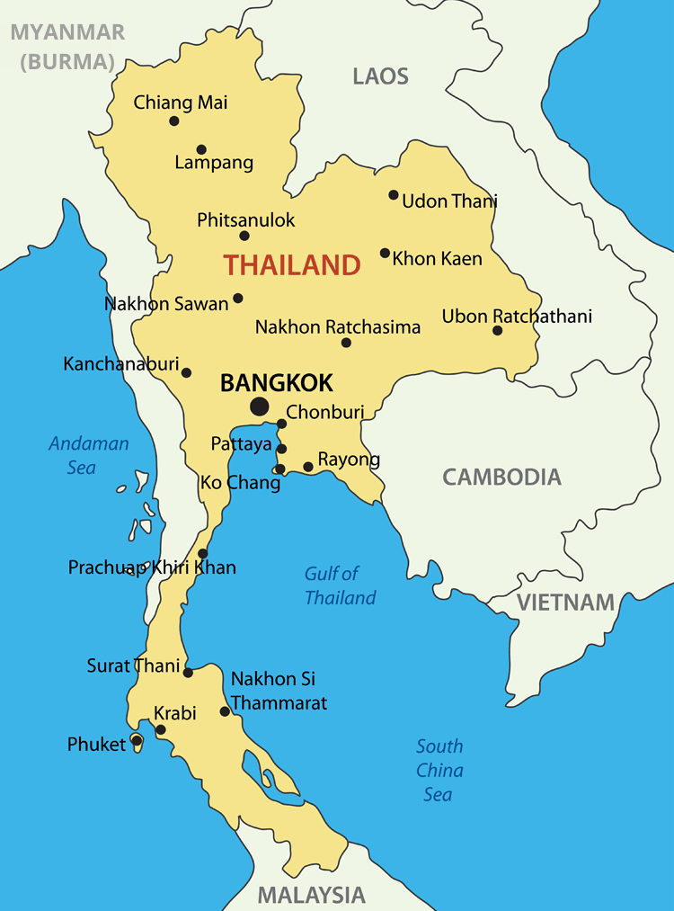 Map of Thailand with neighbouring countries.