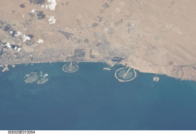 Aerial view of Dubai's manmade archipelagos - NASA image from CIA Worldfactbook