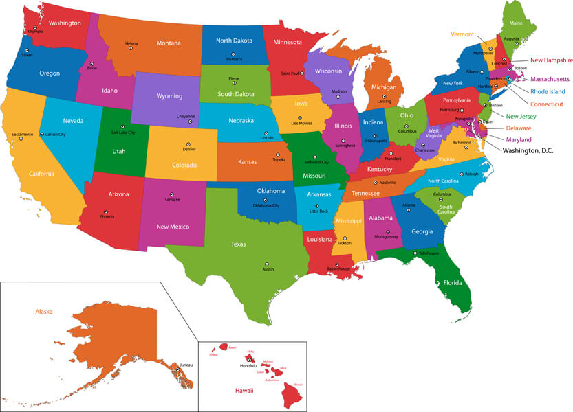 The United States of America - 50 states in colour map
