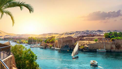 Nile River passing through Aswan