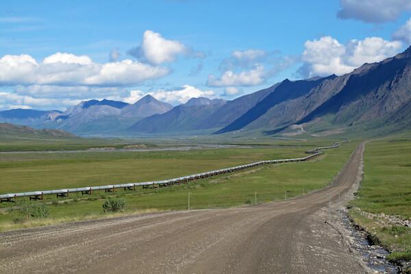 Oil pipeline running through the Alaskan countryside