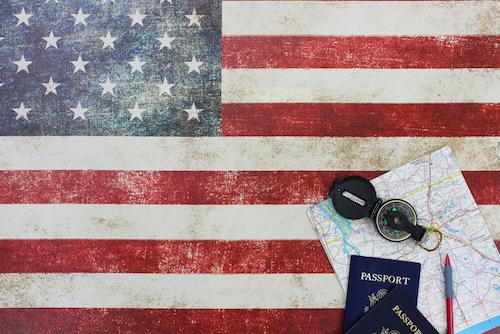 USA flag and American passport