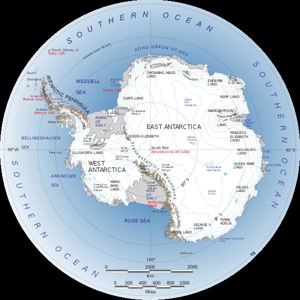 Antarctica Map by Nasa