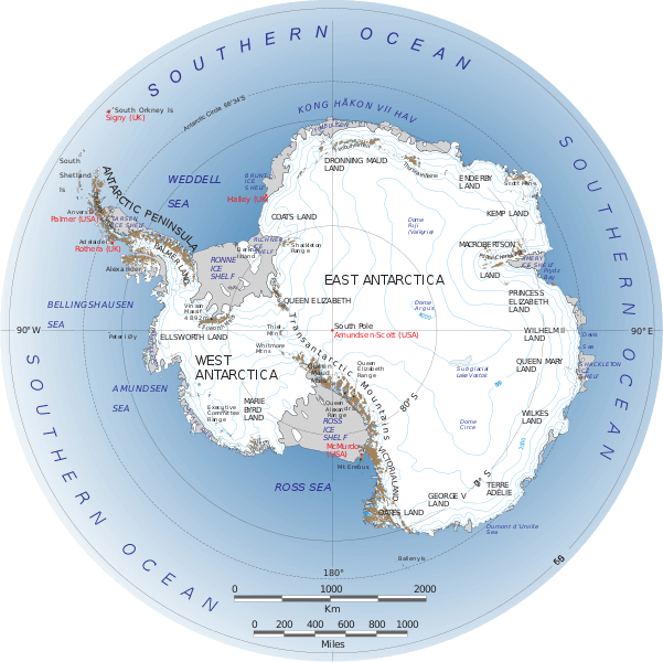 Antarctica Map by Nasa