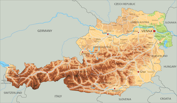 Map of Austria - Austria physical map with neighbouring countries