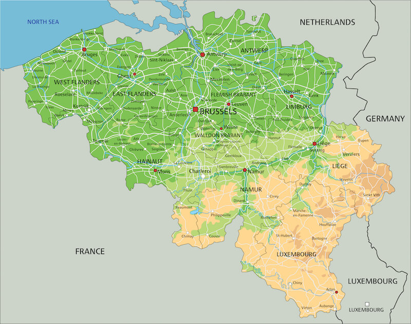 Belgium topographic map