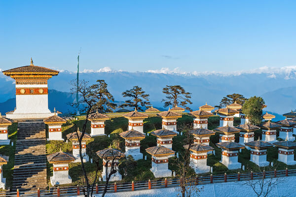 Dochula Pass in Bhutan with 108 memorial chortens