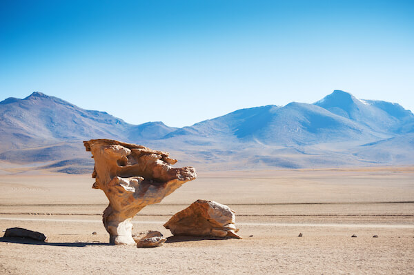 Strange rock formations in the Altiplano of Bolivia