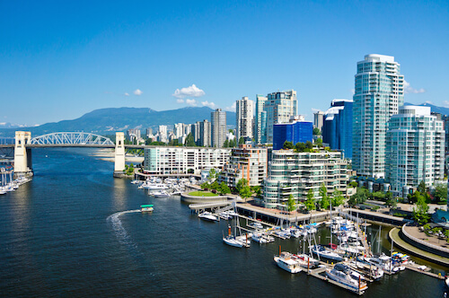 Vancouver skyline in Canada