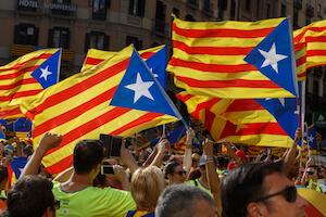 Catalonia flags - image by Riderfoot/shutterstock.com