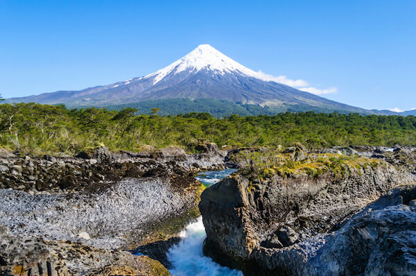 Osorno volcano in Chile is an active stratovolcano.