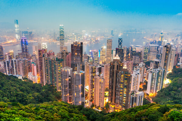 China Hongkong view from Victoria Peak - by shutterstock