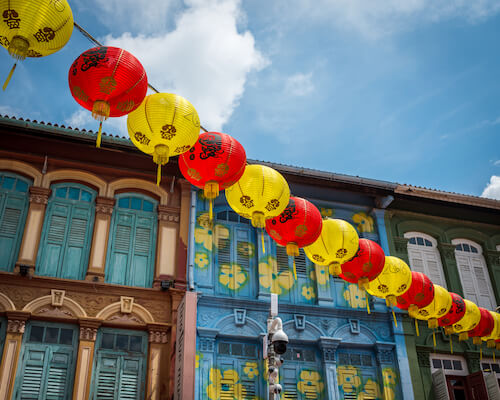 Singapore's Chinatown shophouses with Chinese New Year decoration