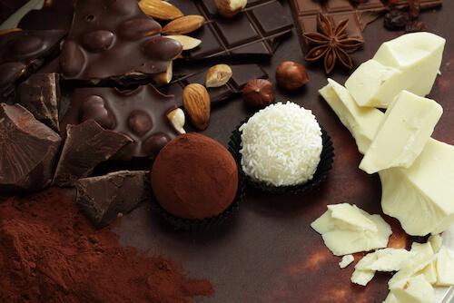 Chocolate slab, nuts and chocolate truffles