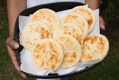 Typical Colombian arepa flatbreads