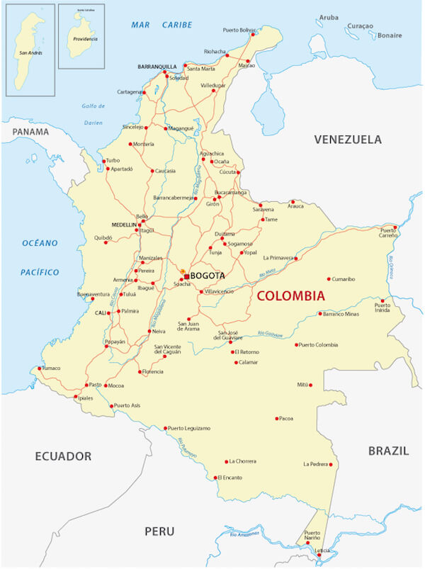 Map Of Australia And Neighbouring Countries.Colombia Facts Colombia For Kids Geography People Animals