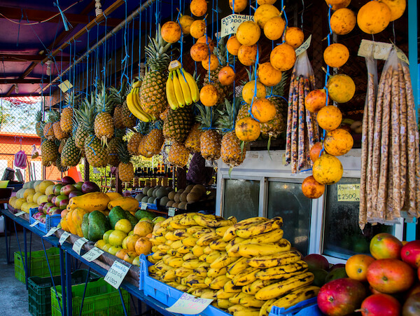Costa Rica market stall with exotic fruits