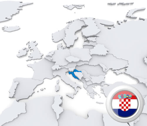 Map of Croatia in Europe