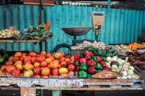 Fresh vegetables at market stall in Havana Cuba
