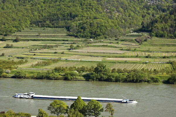 Cargo Ship on the Danube River