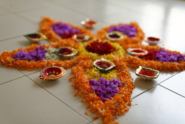 Diwali Flower Rangoli decorations in a home