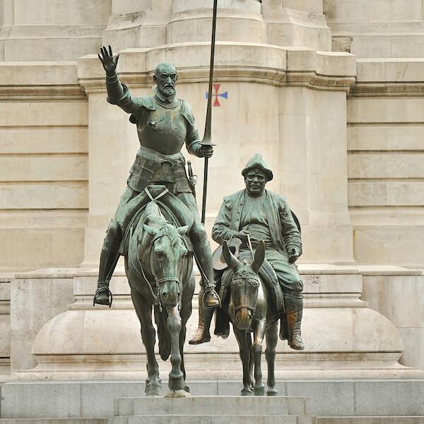 Statue of Don Quixote and Sancho Panza in Madrid