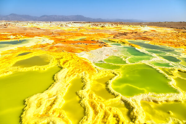 Sulfur lakes in Dallol at Danakil Depression