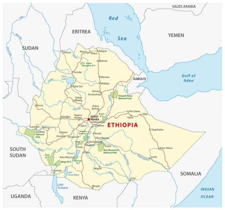 Ethiopia Map - shutterstock.com