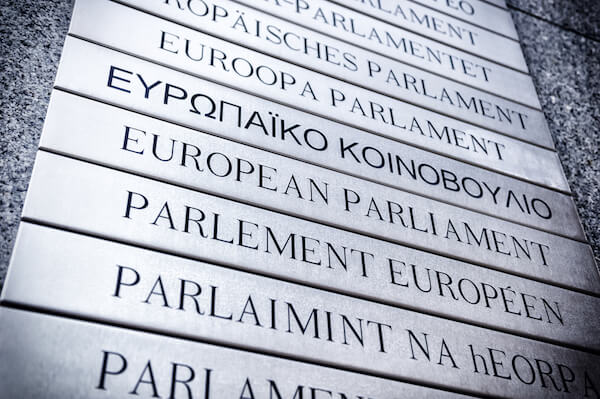 European parliament sign in different languages - image shutterstock