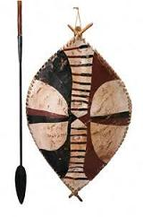 Antique African spear and shield