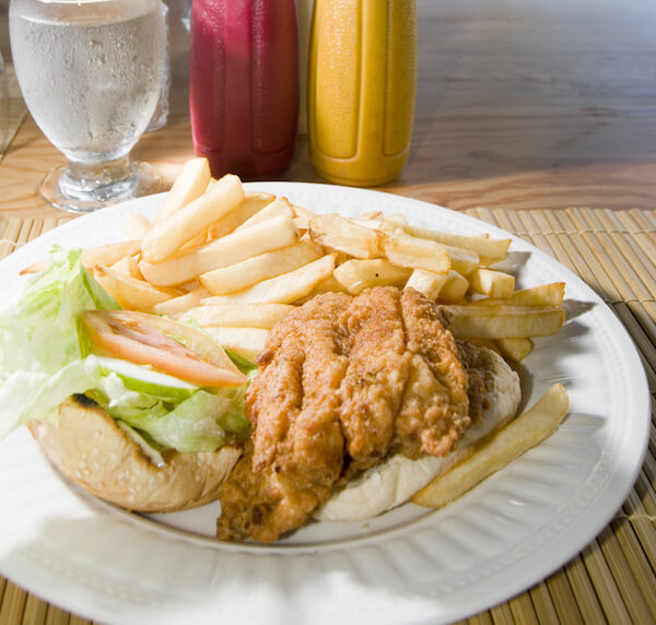 Flying Fish sandwich with fries