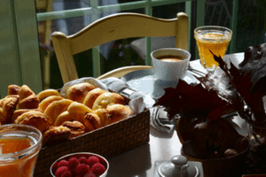 Typical German breakfast with Brötchen and Coffee