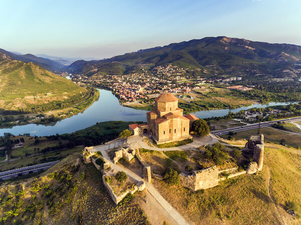 Georgian Jvari monastery overlooking the town of Mtskheta