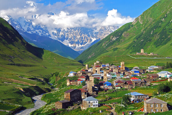 The village of Ushguli - and Mount Shkhara in the background