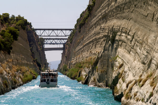 Boat travelling on the Corinth Canal