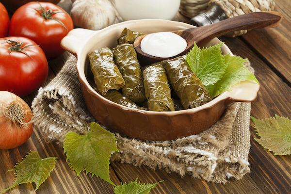 Greek dolmades - vine leaf parcels
