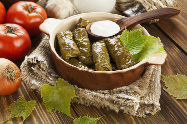 Greek dolmades - vine leaf parcels