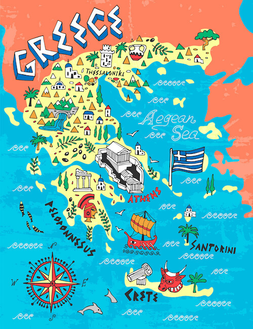 Greece map for kids - from shutterstock